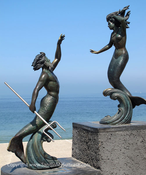 "Puerto Vallarta - Sculpture of two mermaid lovers ""Triton and Nereida"" on the Malecon"