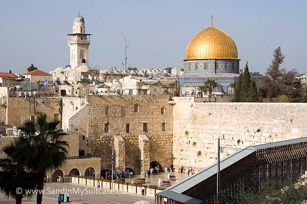 View Of The Gold Roofed Dome Of The Mosque In Jerusalem