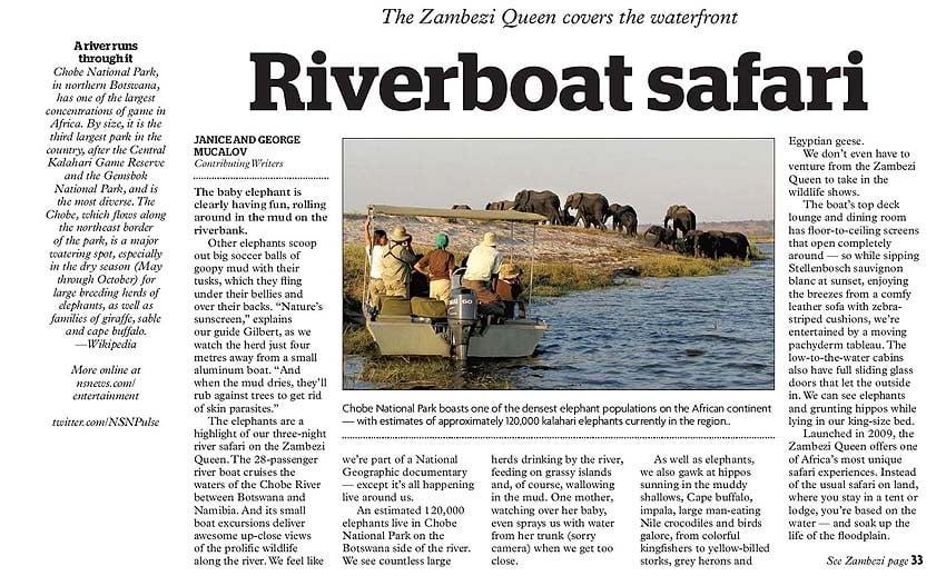 travel articles - Zambezi Queen
