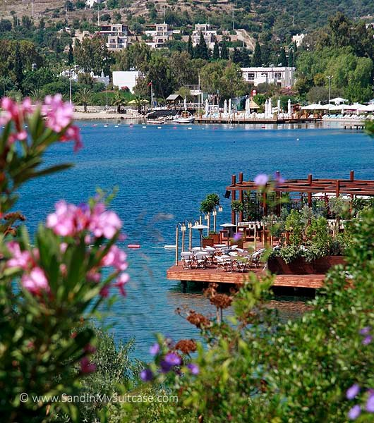 Wooden docks for swimming and sunning in the Bodrum Peninsula