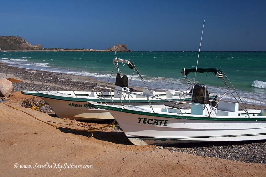 Boats on the beach at remote Cabo Pulmo