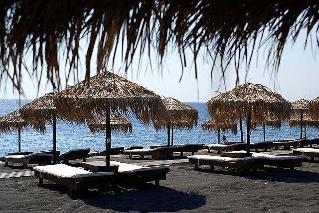 Vedema's private beach club on Perissa Beach
