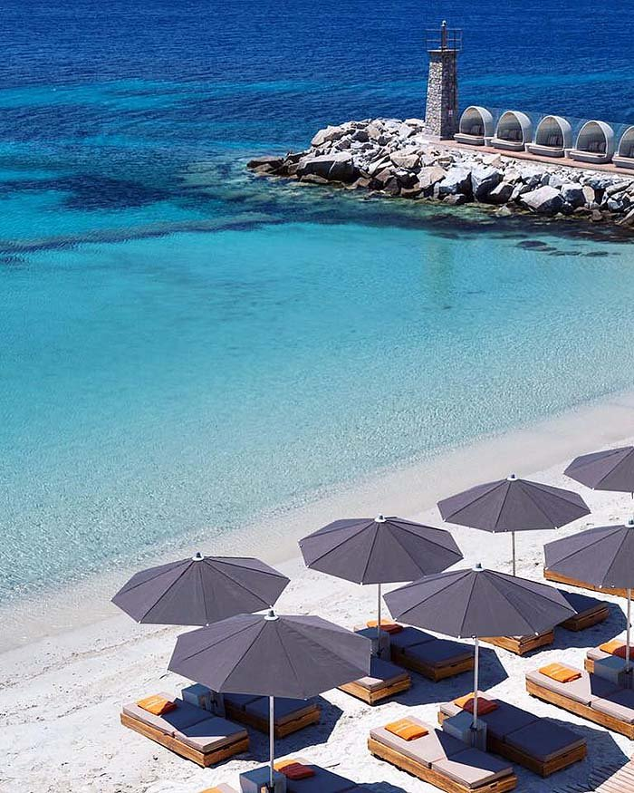 We loved swimming at this Mykonos beach at Santa Marina Resort
