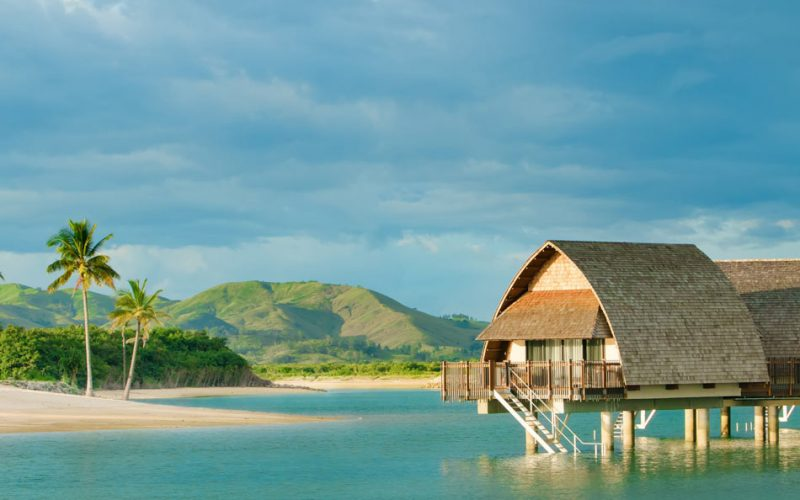 Overwater bungalows in Fiji