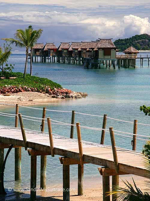 Fijian bures - Likuliku Lagoon Resort is Fiji's first resort with over-water bures