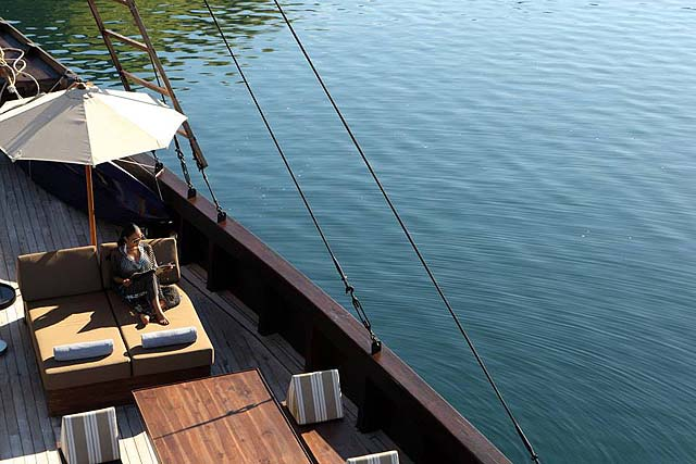 Alila Purnama - relaxing on deck