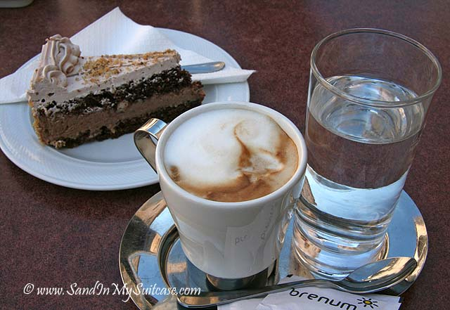 Coffee and cake anyone? Outdoor cafes are pleasant to sit and watch the parade of people walk by...