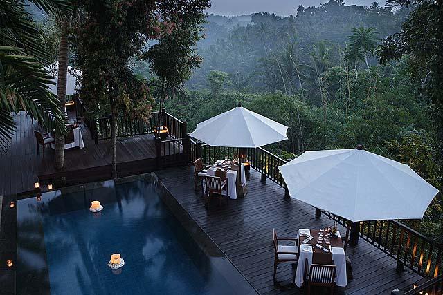The Dining Corner at Ubud overlooks the Ayung River - photo Kayumanis Ubud