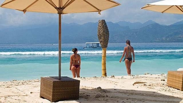 A beach club at Gili Air - by Janice Mucalov