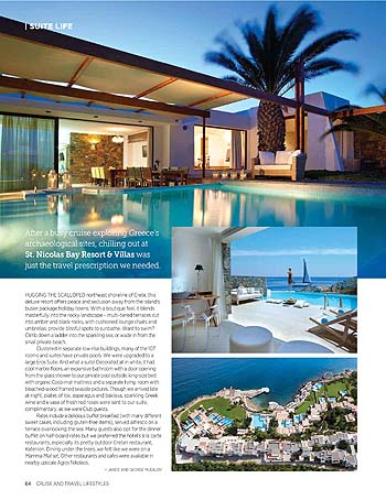 St. Nicolas Bay Resort Review in Cruise & Travel Lifestyles magazine