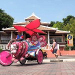 Hitting Malacca's points of interest in a psychedelic trishaw