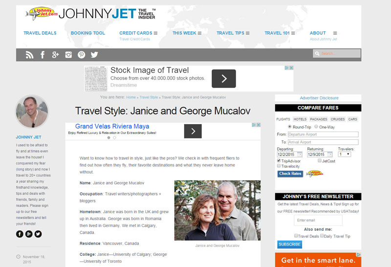 Johnny Jet Travel Style - Janice and George Mucalov