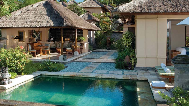 Our Four Seasons villa on Jimbaran Beach had a splendid sea view and its own private pool