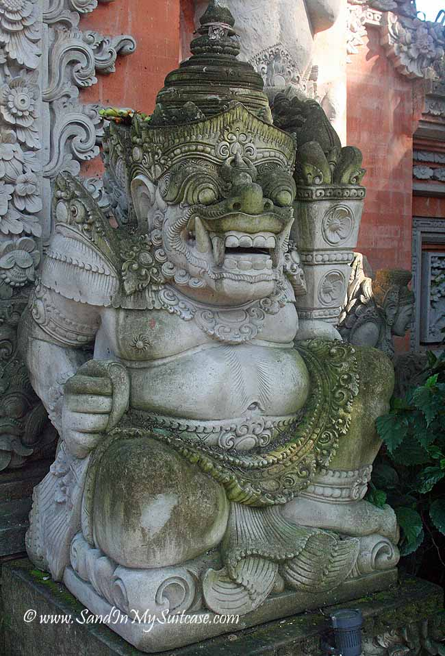 A temple guardian wards off evil spirits