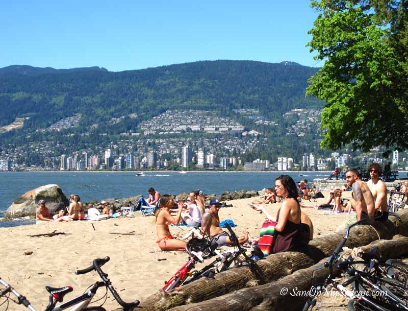 renting bikes in Stanley Park - Third Beach