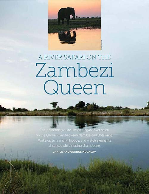 two travel writing awards - River Safari on the Zambezi Queen - CATL, Fall 2014-page-001