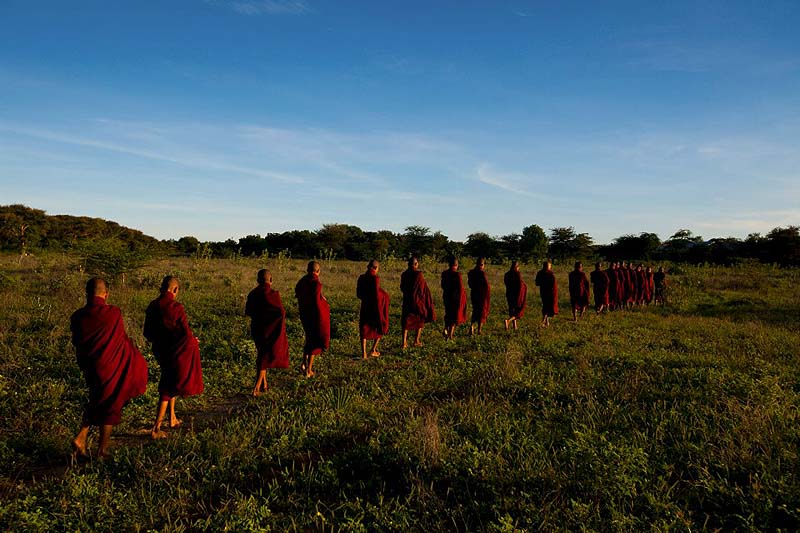 myanmar river cruise - monks