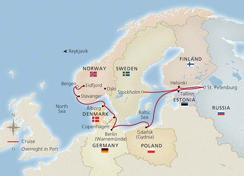 Viking Homelands cruise itinerary map