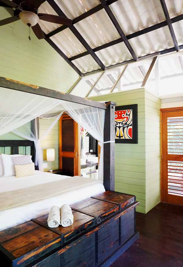 Rooms at Island Plantation on Bocas del Toro have extremely comfy four-poster king-size beds.