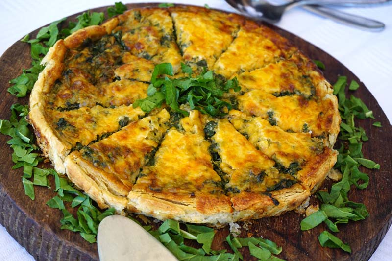 What's for lunch today at Mchenja Bush Camp? Lots of lovely salads and this spinach-and-cheese quiche.