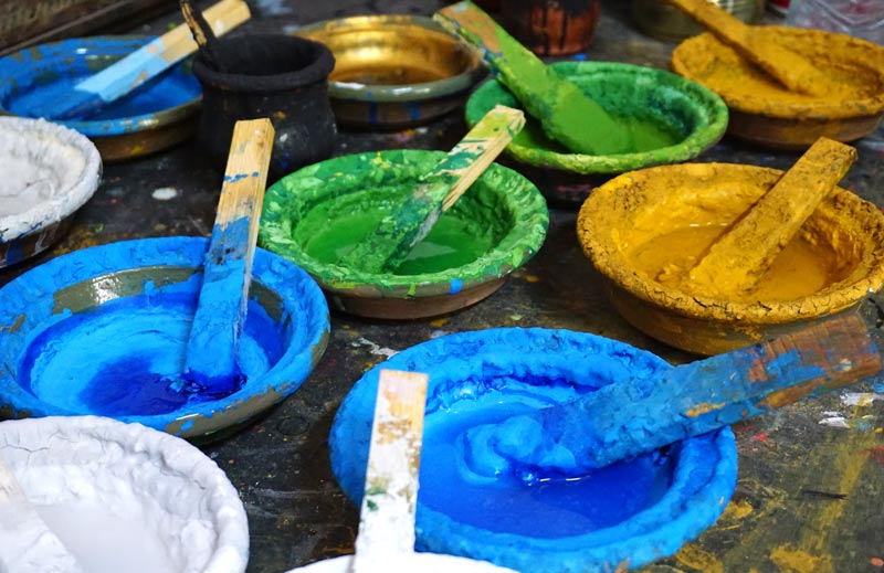 Paint pots at school of arts and crafts in Tetouan, Morocco