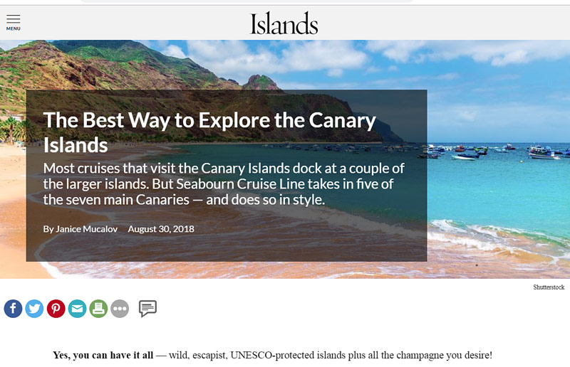 Islands magazine story on Canary Islands cruise