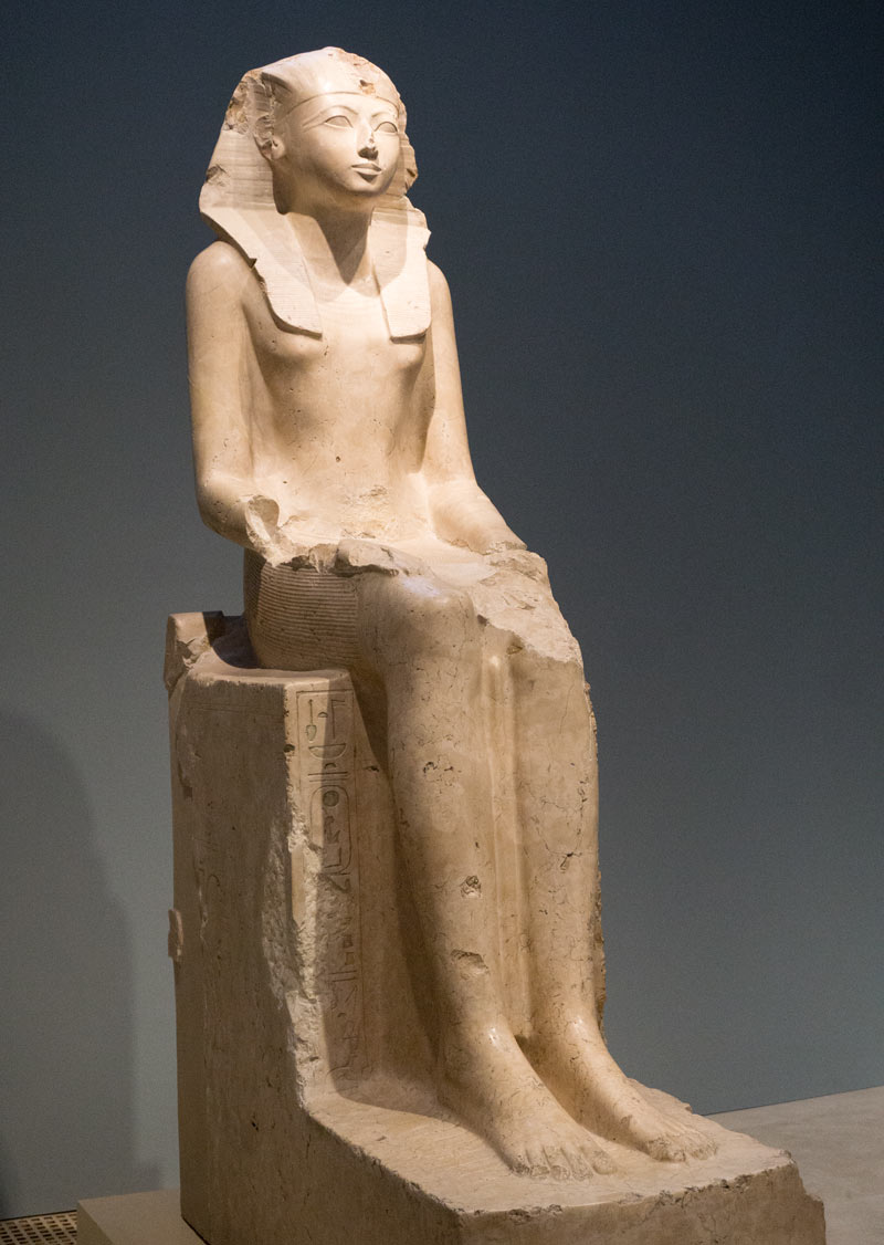 What to see at the Met? The limestone sculpture of Queen Hatshepsut, shown seated as the pharaoh.