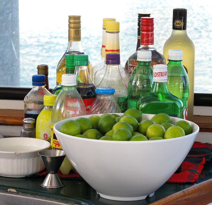 Makings for margaritas on a Cabo San Lucas sunset cruise