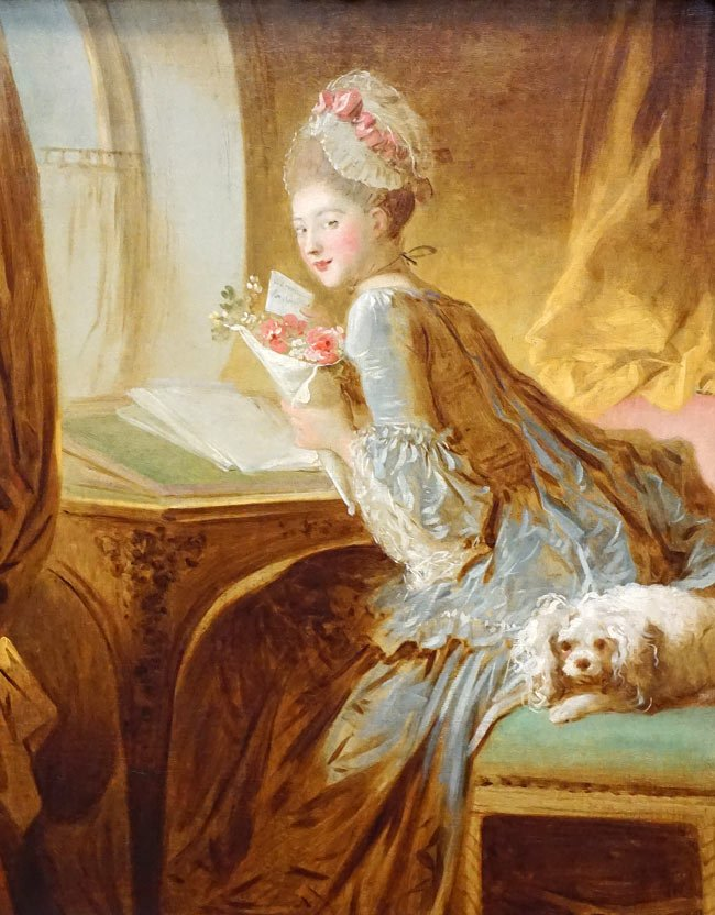 "Famous art at the Met museum in NYC includes ""The Love Letter"" by the French painter, Jean Honore Fragonard."