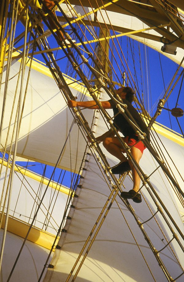 Climbing the mast of the Royal Clipper cruise ship