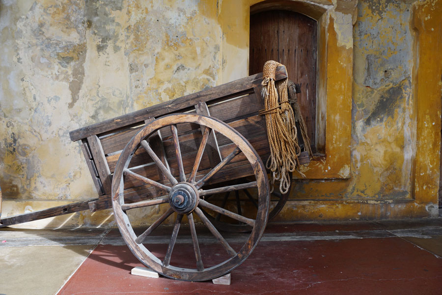 An old wooden cart in Castillo de San Cristobal, Old San Juan