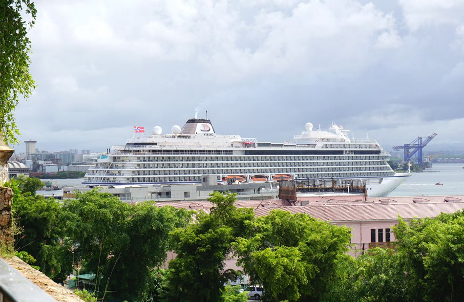 The cruise ship, Viking Sea, docked in Old San Juan, Puerto Rico
