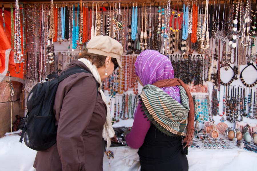 Souvenir stand in the rose-red city of Petra