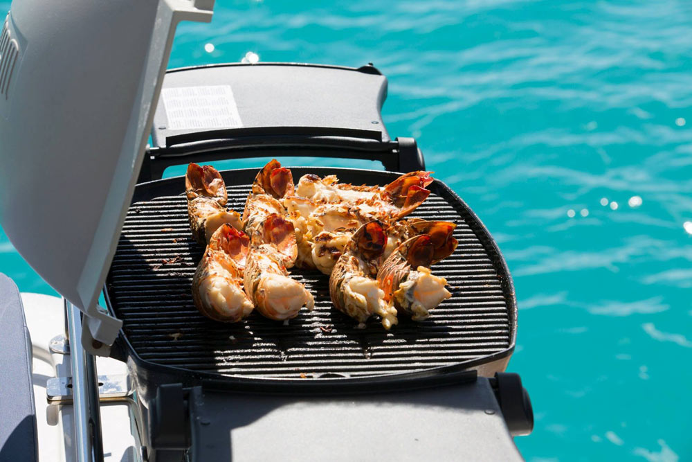 Lobster for lunch on a luxury yacht charter