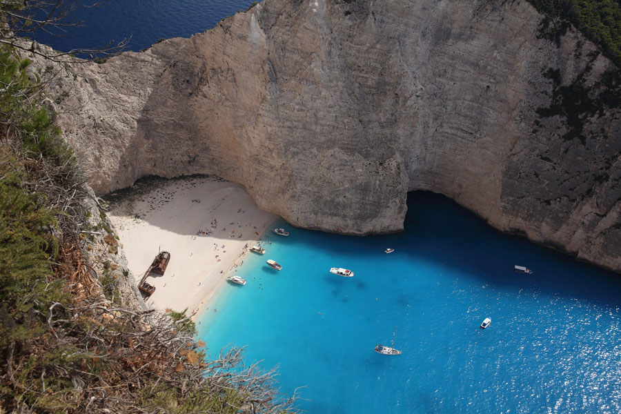 Visiting Navagio Beach, Greece, on a chartered yacht