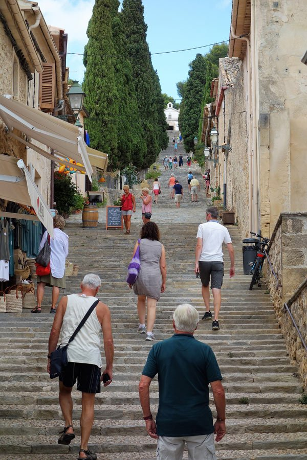 Climbing the Calvari steps in Pollensa Old Town