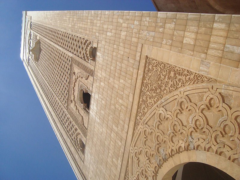 The Hassan II Mosque minaret is 60 stories high and features a laser that points towards Mecca.