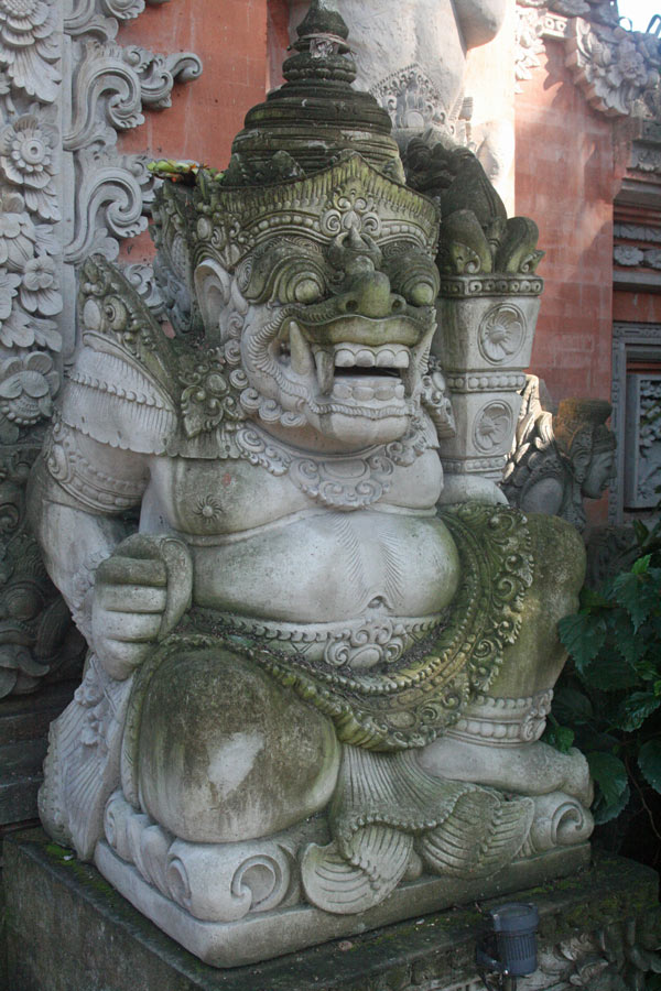 A temple guardian in Bali