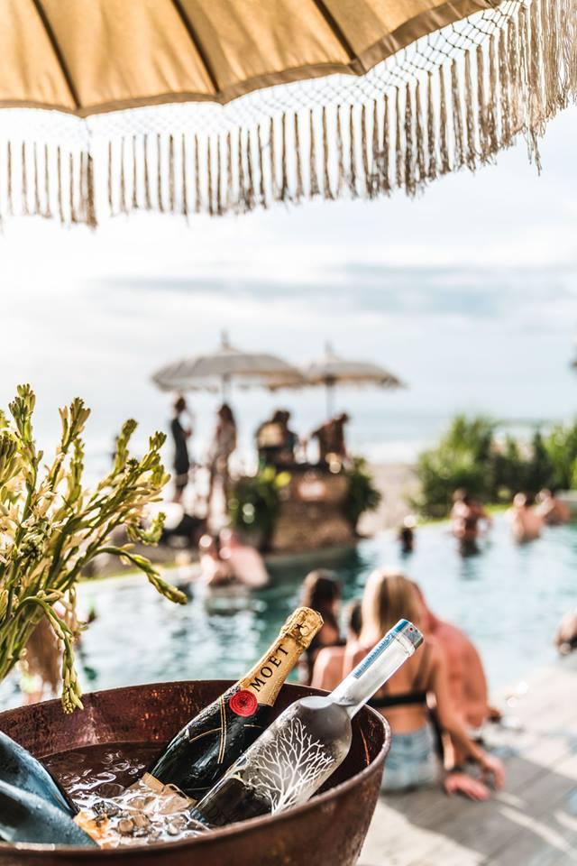 With bean bags and boho umbrellas, The Lawn is a popular, post-hippie-chic beach club in Canggu.