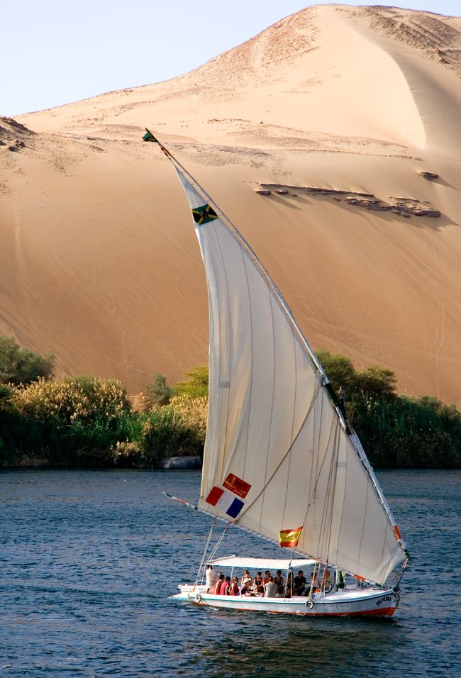 A felucca (traditional Egyptian sailboat) in Aswan