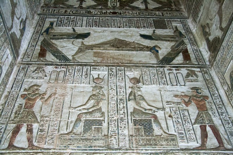 Engravings on the crypt walls at the Temple of Hathor