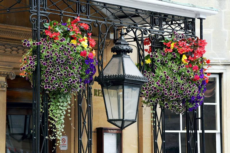 Flower baskets like these can still be seen adorning shop and restaurant doorways in in Victoria in November