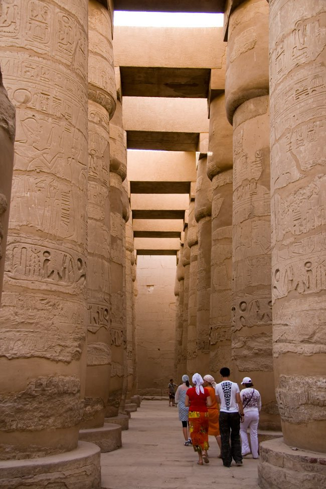 The roof of the Hypostle Hall at the Temple of Karnak is supported by 134 massive columns