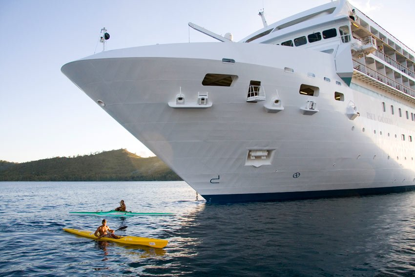 The Paul Gauguin has a watersports platform for kayaking from the back of the ship