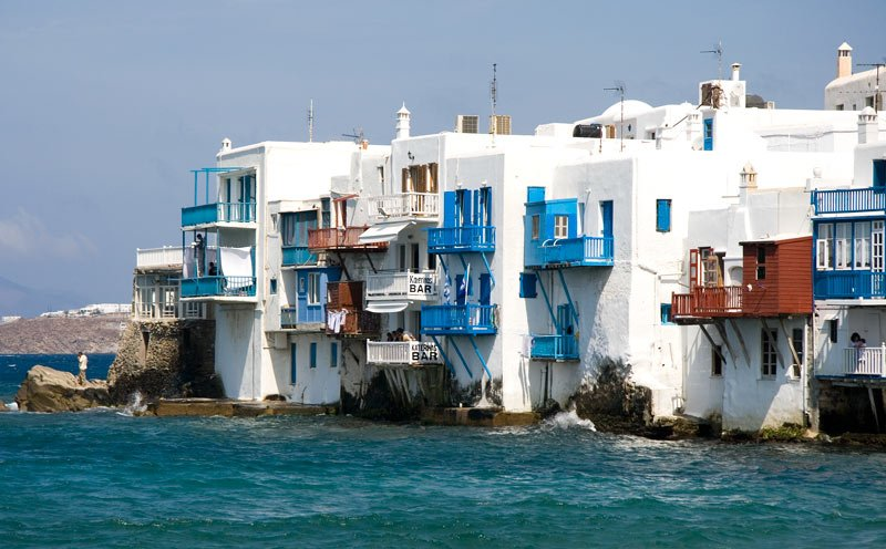 Mykonos town is a maze of whitewashed cubist buildings