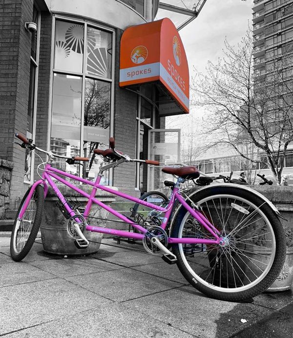 Check out this cool pink tandem bike at Spokes Bicycle Rentals in Vancouver.