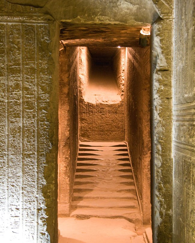 Stairs to the underground crypt at Hathor Temple