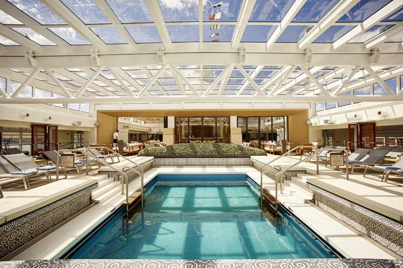When the weather is cool, the roof over the pool is shut on the Viking Star ship.