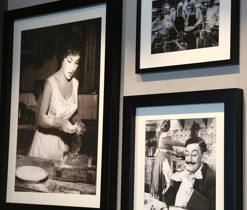 Charming black-and-white photos of Italian food scenes decorate the walls of Manfredi's restaurant on the Viking Star.