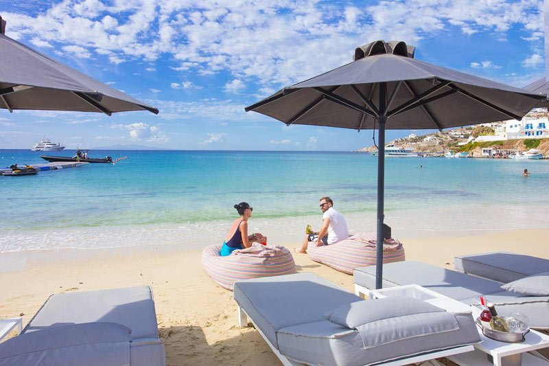 The Mykonos Palace Beach Hotel fronts Platis Gialos Beach, one of the best beaches in Mykonos